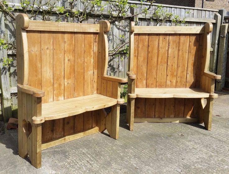 Handmade Pine High Back Settle / Bench / Pew Reclaimed Wood #Unbranded #Farmhouse