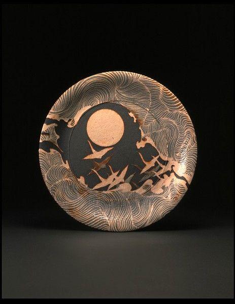 Dish  Wakao Toshisada 1989  This calls to me...cranes...and the moon :)
