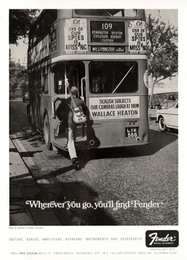 """Wherever you go, you'll find Fender"" vintage ad."