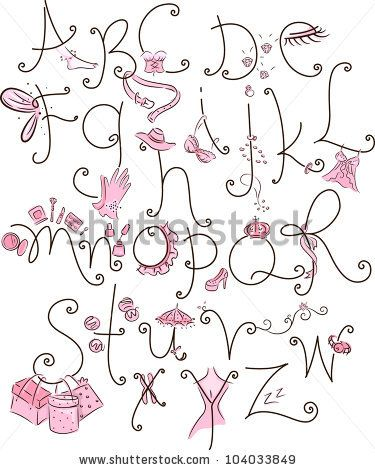 Girly Alphabet Fonts | Alphabet Illustration With A Girly Theme - 104033849 : Shutterstock