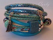 Blue Dragonfly by Carly bransoletka skórzana bracelet jewellery stone