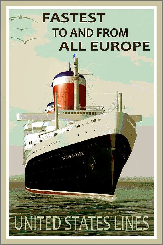 SS UNITED STATES  Fastest to Europe  New Retro Poster by PosterDog, $45.00