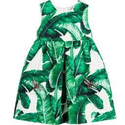 Dolce & Gabbana - Green & Ivory Silk & Cotton 'Botanical' Dress | Childrensalon