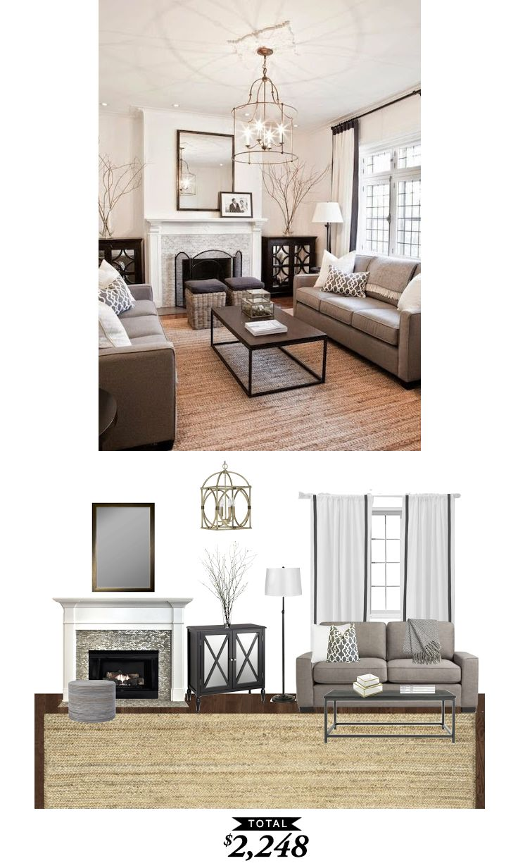 A warm classic living room in shades of gray for $2248 recreated by @audreycdyer for Copy Cat Chic #roomredo