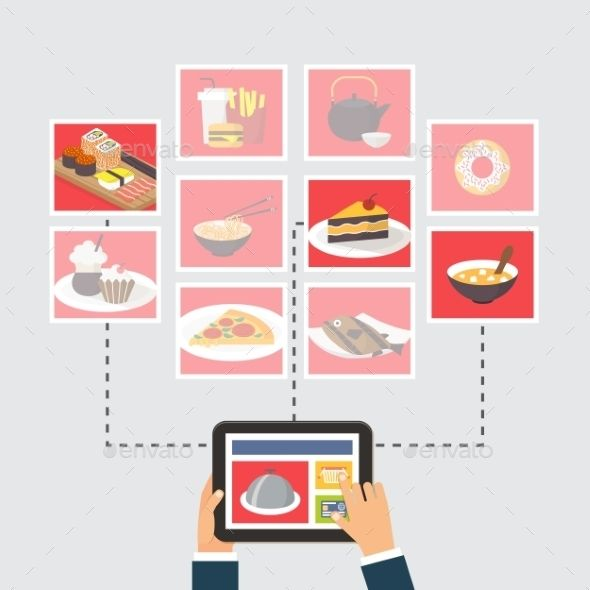 Meals supply, on-line order or recipe looking out, flat design vector illustration…
