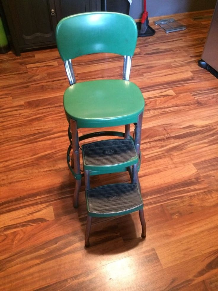 Green Vtg Mid Century Cosco Folding Step Stool Chair
