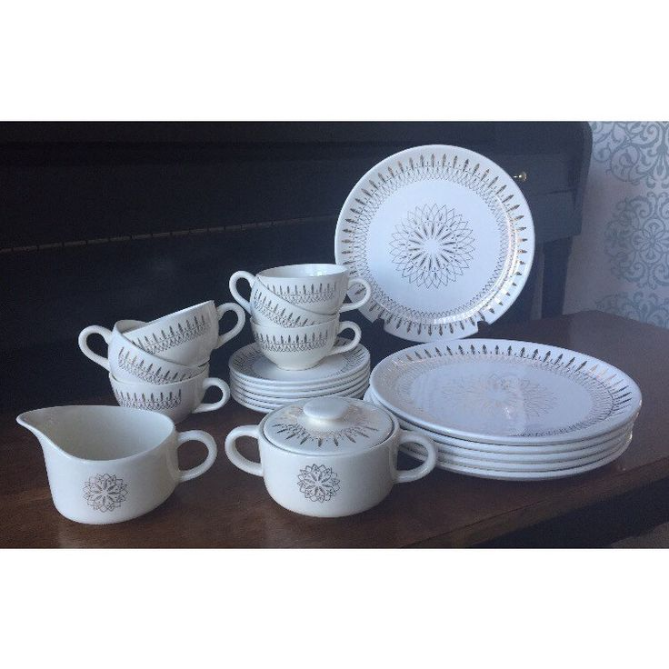 White and Gold Atomic Spirograph Luncheon Set for 6 Dishes - Mid Century Modern Dinner Plates, Tea cups, Saucers, Sugar Bowl, Creamer Retro by shhhitsvintage on Etsy https://www.etsy.com/listing/491421285/white-and-gold-atomic-spirograph
