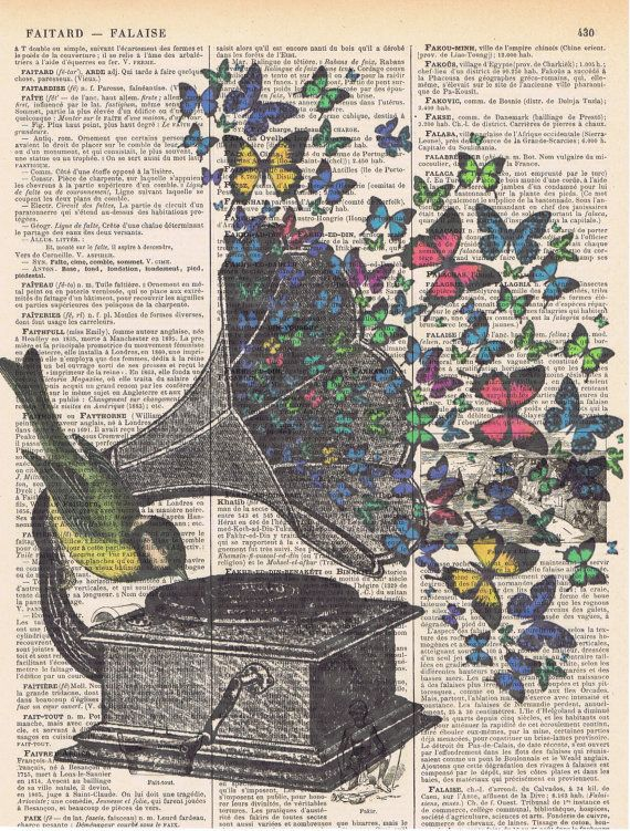 Butterflies.Bird.Music.Gramophone.Collage.Fantasy.Antique Book Page.handmade gift.home deco.vintage,retro.french.mixed media.art.nursery