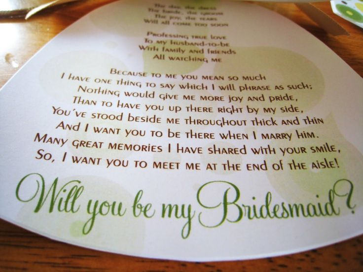 Be My Bridesmaid Poem Funny