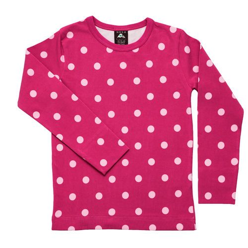 Beautiful Magenta shirt with soft powder pink polka dots.
