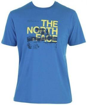 $47 Camiseta de hombre Outdoor Rock The North Face - azul y amarillo - algodón
