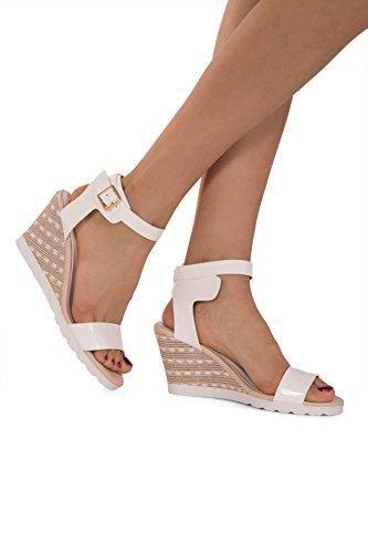 Oferta: 21.79€. Comprar Ofertas de Sandalia con plataforma, con correas al tobillo, zapato con tacón cuña bajo de mujer, números de 35,5 a 42, color blanco, tal barato. ¡Mira las ofertas!