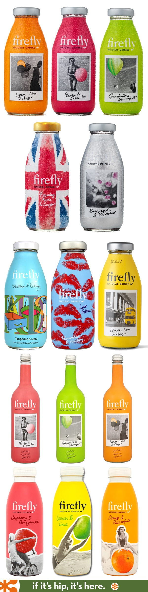 Firefly Tonics bottles, Including the Limited Editions.  Like the interesting designs on each