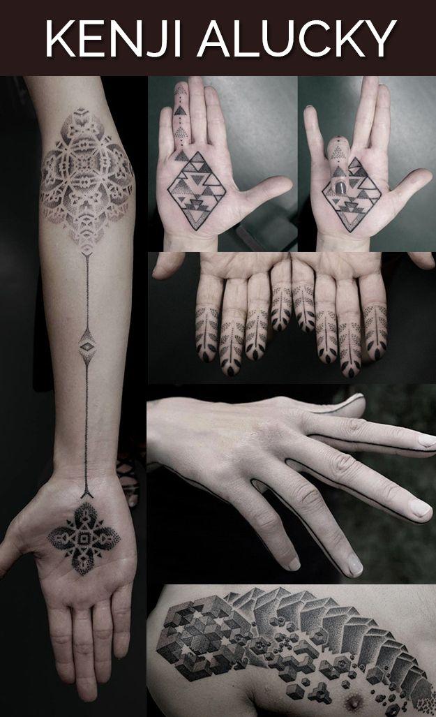 Kenji é conhecido por uma técnica pontilhada chamada 'stippling'. Suas tatuagens empregam motivos geométricos e tribais e imploram para serem inspecionadas de perto. Ele também é um tatuador itinerante, então se você quiser fazer o seu próprio Kenji original. Mais, aqui: https://www.facebook.com/blackinkpower