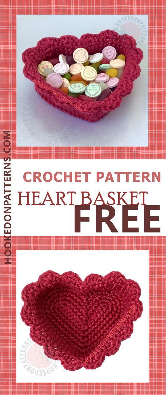 Padrão de cesta de coração de crochê grátis