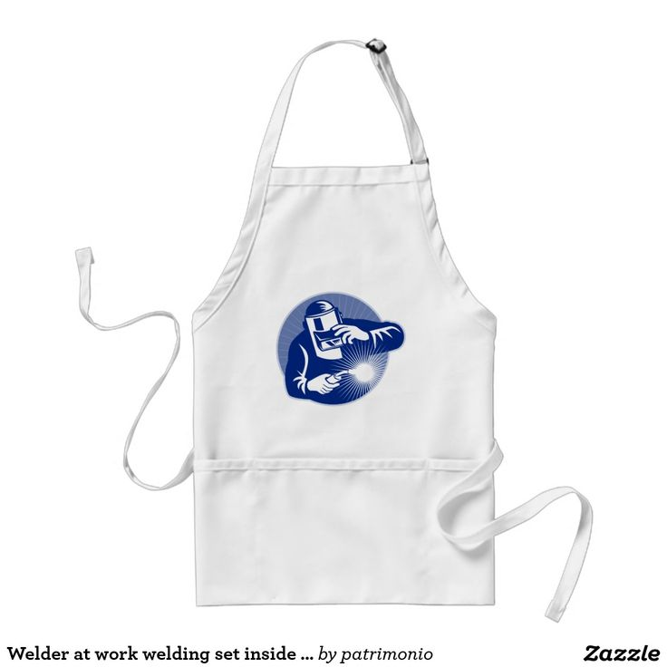 Welder at work welding set inside circle adult apron. Totally customizable adult apron with an illustration of a welder at work set inside  a circle done in retro style. #welder #welding #apron