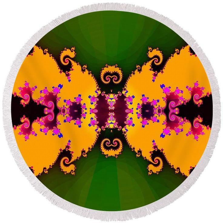 Abstract fractal floral decor #roundbeachtowel #fractal #art #orange #pink #green