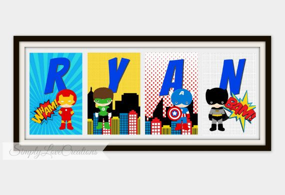Welcome to Simply Love Creations!      Personalize your little Superheros room with this Superhero Name Print. These fun name signs are made
