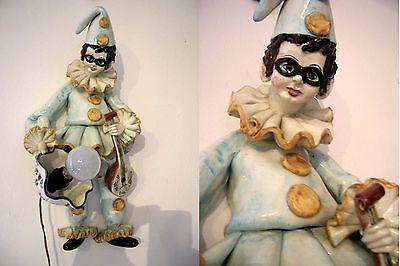 RARE Exclusive 'PULCINELLA' figure ceramic Wall light sconce clown Venetian
