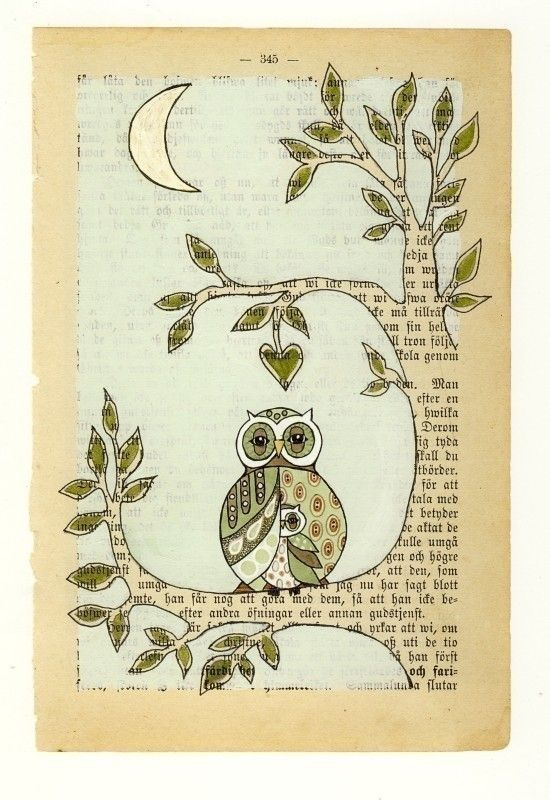 owl and baby using book paper