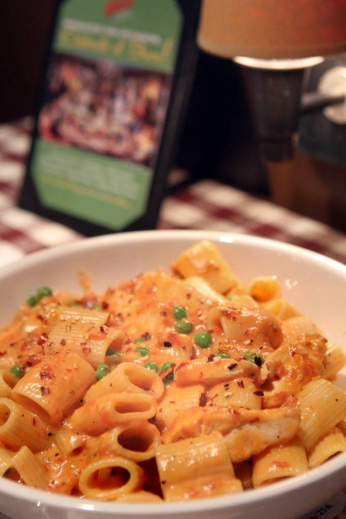 Spicy Chicken Rigatoni from Buca di Beppo. Tried this and it was great, left out hot stuff and used shrimp instead of chicken...loved it
