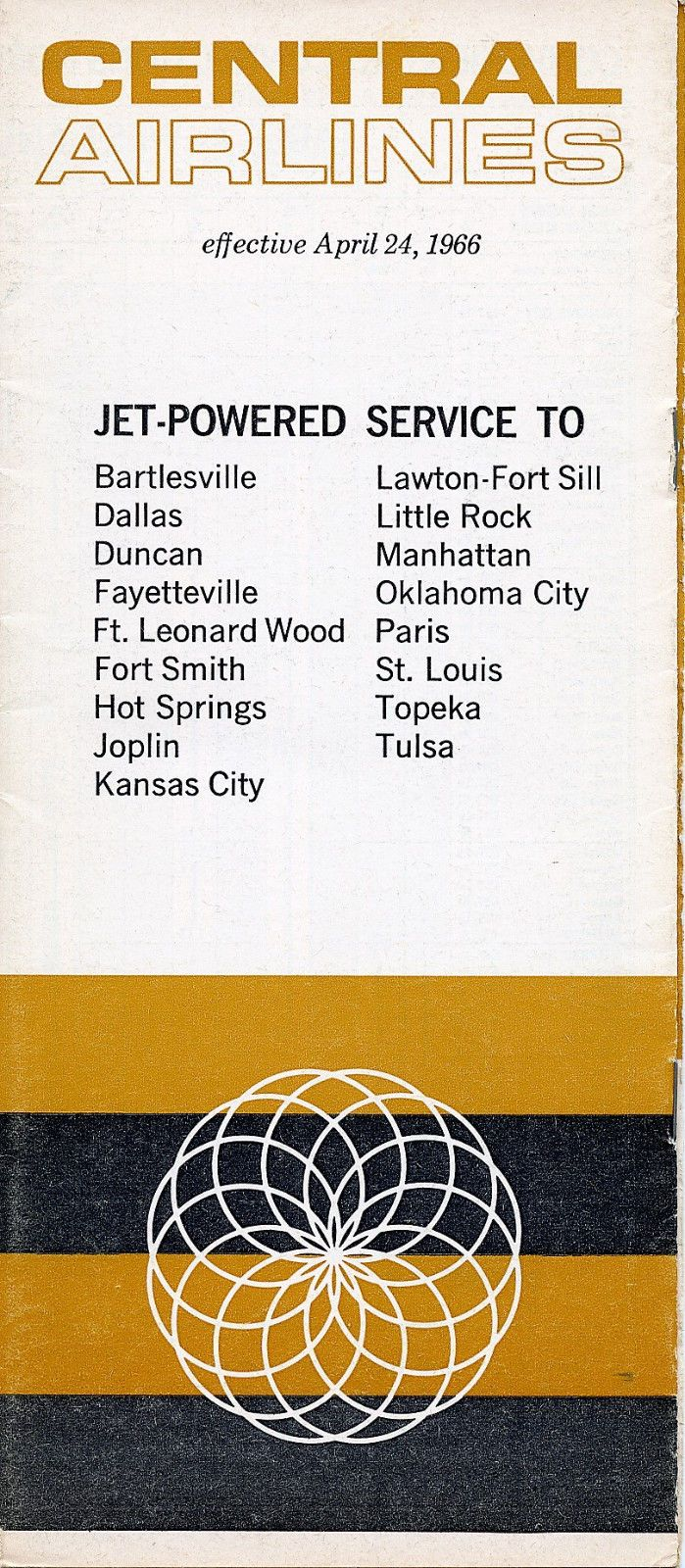 Central Airlines April 24 1966 System Timetable