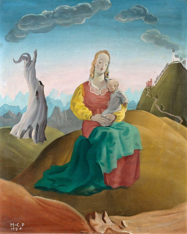 Aukció: 2016. december 13.: Molnár C. Pál; Madonna a kisdeddel, 1938; olaj, farost