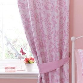 Pink Blossom Butterflies Blackout Pencil Pleat Curtains