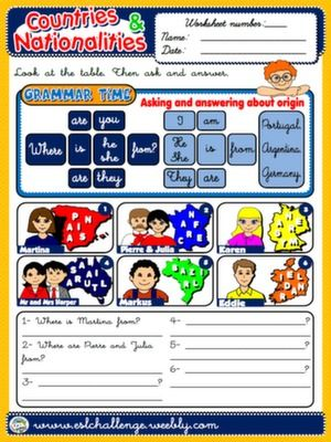#COUNTRIES AND NATIONALITIES - WORKSHEET 2