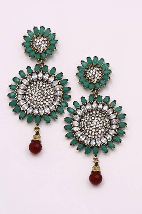 #Green, #Maroon and Off White American #Diamond Studded Imitation #Earring @ $157.88 | Shop Here: http://www.utsavfashion.com/store/item.aspx?icode=jwr6700