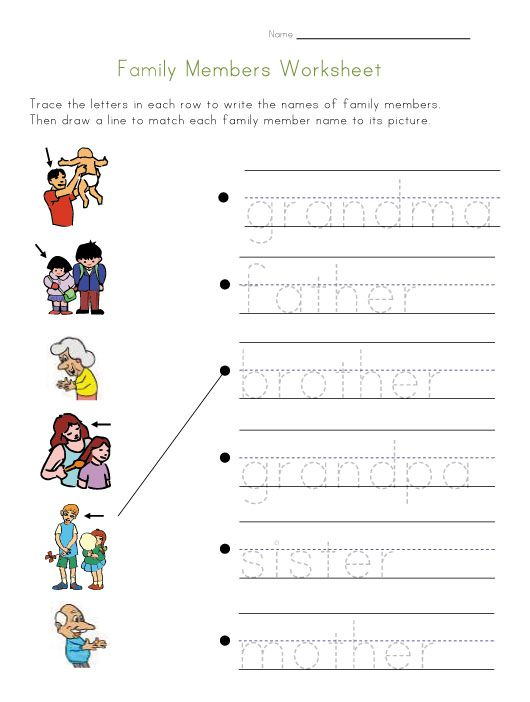 Family Members Worksheet Ideas For The House Pinterest Family
