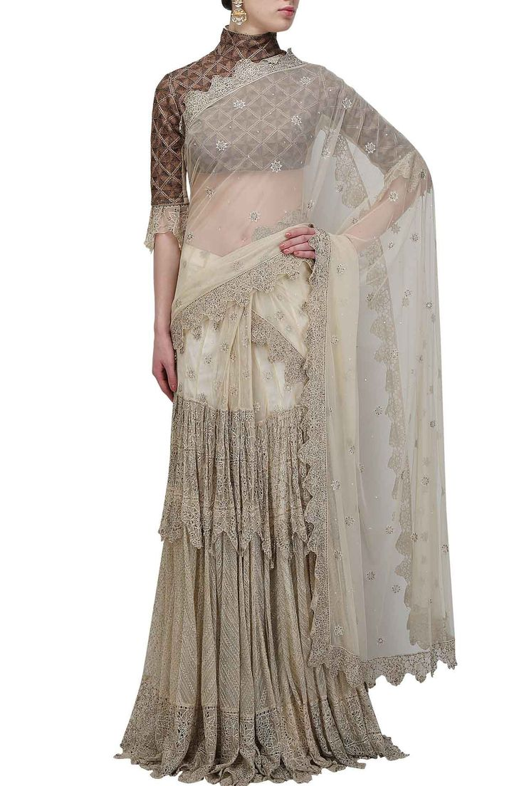 ANAND KABRA Ivory cutwork lace tiered lehanga sari with copper diamond blouse available only at Pernia's Pop Up Shop.