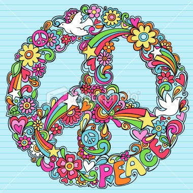 Psychedelic Peace Sign and Doves