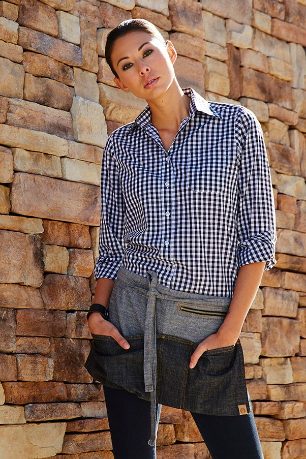 Women's Blue and White Gingham Dress Shirt available at http://www.chefsemporium.net/blue-gingham-womens-shirt.html .  An Urban Chic look when coupled with our Manhattan Indigo Blue Denim Waist Apron, also available from ChefsEmporium.net - http://www.chefsemporium.net/denim-waist-apron-indigo-blue.html
