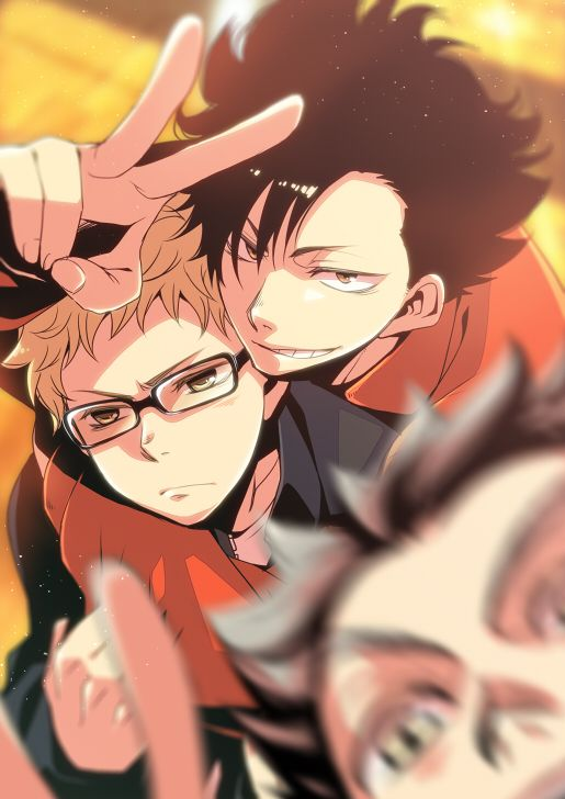 Rinko (Usoppachi), Haikyuu!!, Bokuto Koutarou, Kuroo Tetsurou, Tsukishima Kei, Two-tone Hair http://www.zerochan.net/1801220 - Loving the movement smudges in this one!