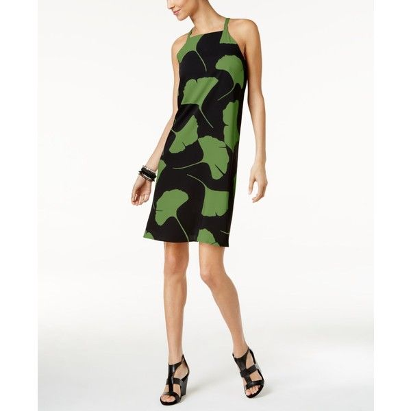 Alfani Petite Printed Dress, ($60) ❤ liked on Polyvore featuring dresses, green large leaf, white day dress, green halter neck dress, petite white dresses, green dress and alfani dresses