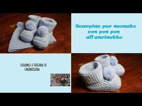 scarpine con pon pon per neonato all'uncinetto tutorial - YouTube