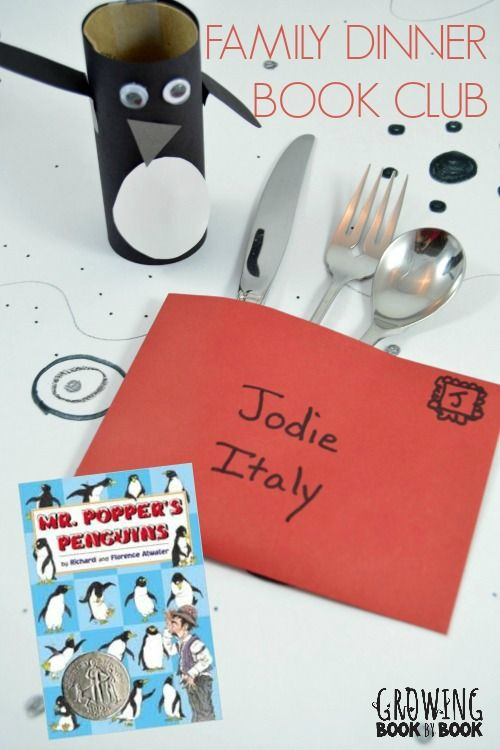 A monthly Family Dinner Book Club complete with themed menu, table decoration crafts, service project and conversation starters.  This month the featured book for kids is Mr. Popper's Penguins!