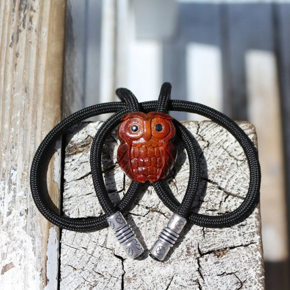 Owl Bolo Tie Avocado Seed Neck tie Western Bolo by CosmiziAvocado