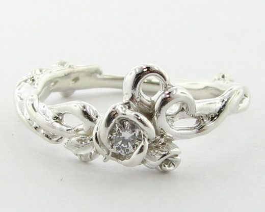 Silver Rose Garden Ring with Premium Diamond $220.00