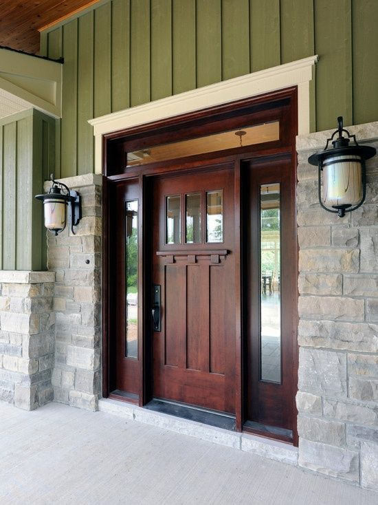 craftsman front door.  Our doors inside our house are like that, minus the glass, but not the front door, just occurred to me now why didn't we do the same for the front when we built our house, of course it would be a larger door and with the glass on the door.  -l.s.