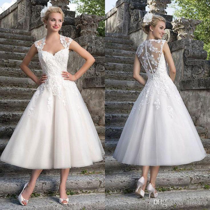 Lovely lace appliqued short wedding dresses a line for Sweetheart neckline tea length wedding dress
