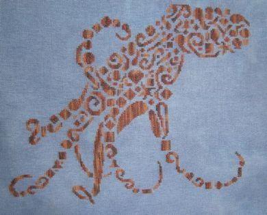 Tribal Octopus Monochromatic Cross Stitch Chart - White Willow Stitching Cross Stitch - (Powered by CubeCart)