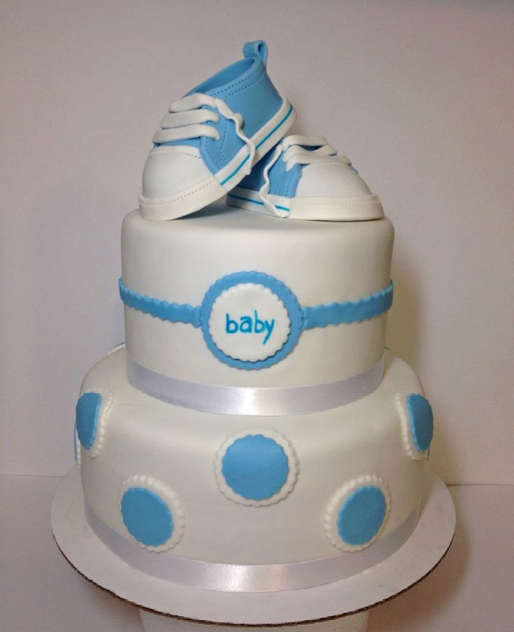 Baby boy shower cake with fondant sneaker toppers