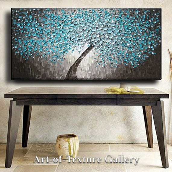 48 x 24 Large Oil Impasto Painting Original Texture Modern Aqua Teal Beige Brown White Floral Tree Sculpture Knife Painting by Je Hlobik on Etsy, $274.99