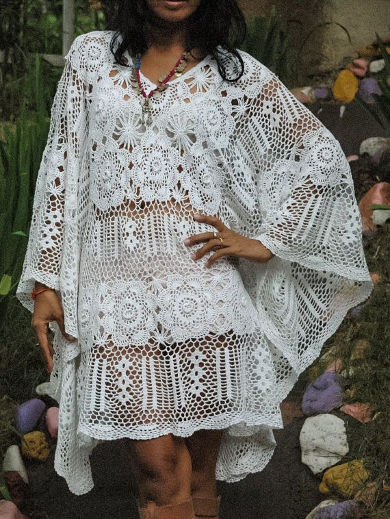 Beautiful Boho White Crochet Womans Dress/Womans Kaftan Flower Pattern Designs Hand Crochet Only one in stock!  Measurements: Bust: 56 Around (142.24