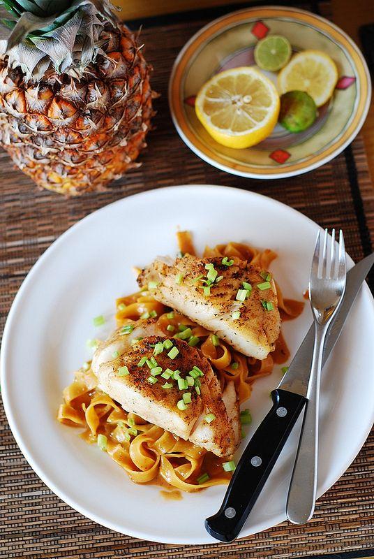 Asian fish and peanut sauce noodles | JuliasAlbum.com