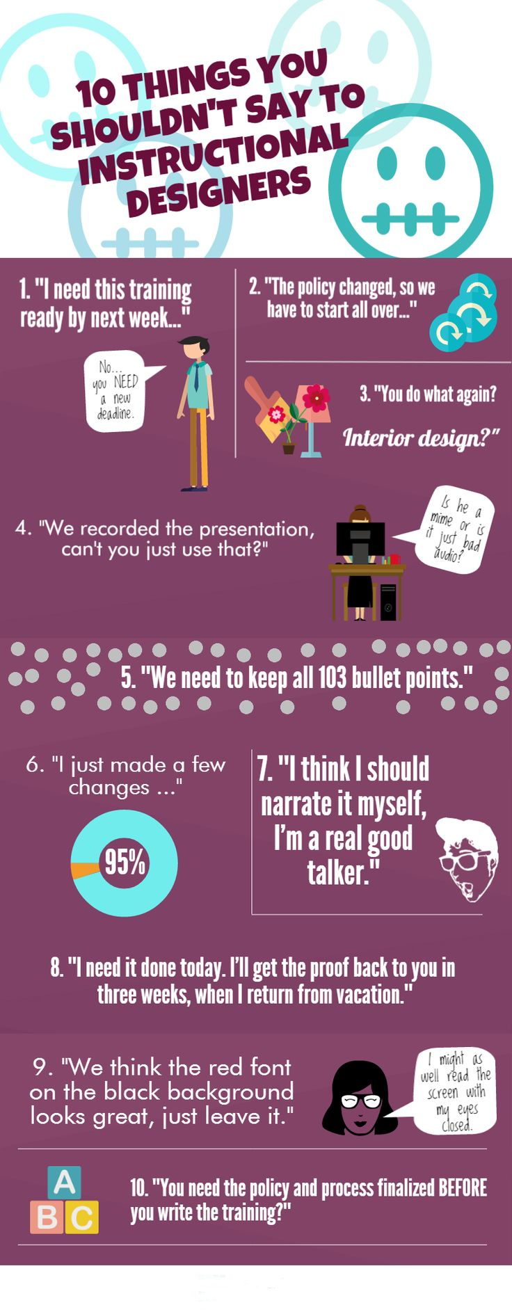 57 best learning development images on pinterest learning infographic 10 things you shouldnt say to instructional designers articulate e learning heroes site fandeluxe Image collections