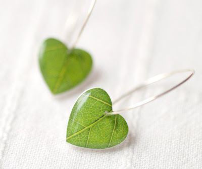 A Polar Bear's Tale: Green leaf earrings