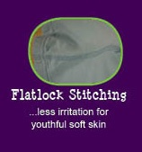 12 reasons why Peekaboo Beans is different from other kids clothing brands.  REASON #6 - FLAT LOCK STITCHING  (great for kids with sensory processing disorder - no itchy seams!)